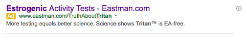 Eastman Advertisement on Google Search